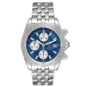Breitling Blue Stainless Steel Chronomat Evolution A13356 Men's Wristwatch 44 MM