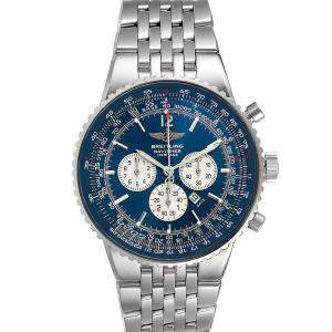 Breitling Blue Stainless Steel Navitimer Heritage A35350 Men's Wristwatch 43 MM