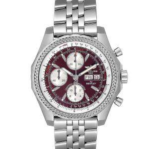 Breitling Burgundy Stainless Steel Bentley Motors GT A13362 Men's Wristwatch 45 MM