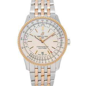 Breitling Silver 18K Rose Gold And Stainless Steel Navitimer Automatic U17326211G1U1 Men's Wristwatch 41 MM