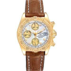 Breitling MOP Diamonds 18k Yellow Gold Windrider Cockpit K13358 Men's Wristwatch 39 MM
