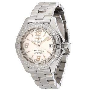 Breitling Silver Diamonds Stainless Steel Colt Oceane A57350 Men's Wristwatch 33.5 MM