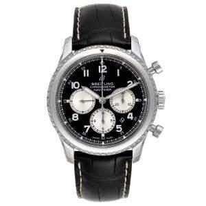 Breitling Black Stainless Steel Navitimer Aviator 8 B01 AB0117 Men's Wristwatch 43 MM