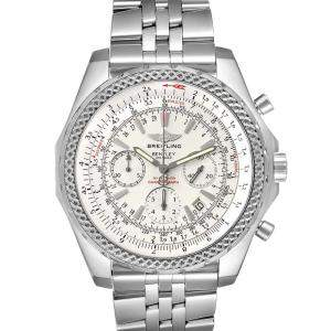 Breitling Silver Stainless Steel Bentley Motors Chronograph A25362 Men's Wristwatch 49 MM