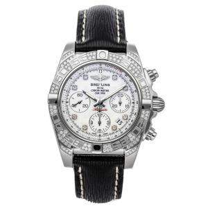 Breitling White Diamonds Stainless Steel Chronomat AB0140AF/A744 Men's Wristwatch 41 MM