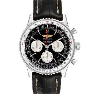 Breitling Black Stainless Steel Navitimer 01 Automatic AB0120 Men's Wristwatch 43 MM