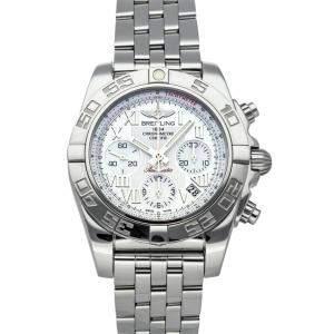 """ساعة يد رجالية بريتلينغ """"كرونومات ايه بي014012/ايه746"""" ستانلس ستيل فضية 41 مم"""