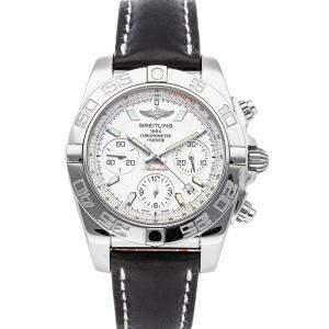 """ساعة يد رجالية بريتلينغ """"كرونومات ايه بي014012/جي711"""" ستانلس ستيل فضية 41 مم"""