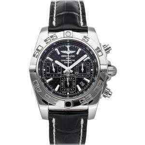 """ساعة يد رجالية بريتلينغ """"كرونومات ايه بي011012/بي أف76"""" ستانلس ستيل سوداء 44 مم"""
