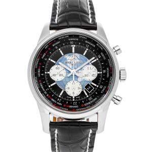"""ساعة يد رجالية بريتلينغ """"ترانساوشان يونتيم كرونوغراف ايه بي0510يو4/بي بي62"""" ستانلس ستيل سوداء 46 مم"""