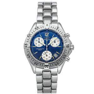 Breitling Blue Stainless Steel Colt Chronograph A53035 Men's Wristwatch 38 MM