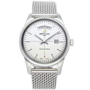 Breitling Silver Stainless Steel Transocean Day & Date A4531012/G751 Men's Wristwatch 43 MM
