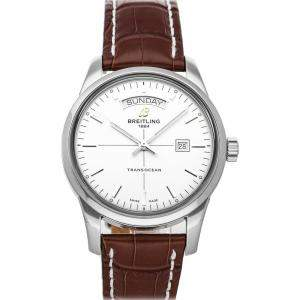 Breitling White Stainless Steel Transocean Day & Date A4531012/G751 Men's Wristwatch 43 MM