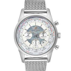Breitling Silver Stainless Steel Transocean Chronograph Unitime AB0510 Men's Wristwatch 46 MM