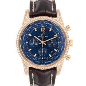 Breitling Blue Diamonds 18K Rose Gold Transocean RB0510 Men's Wristwatch 46 MM