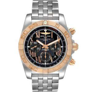 Breitling Black 18K Rose Gold And Stainless Steel Chronomat Evolution CB0110 Men's Wristwatch 45 MM