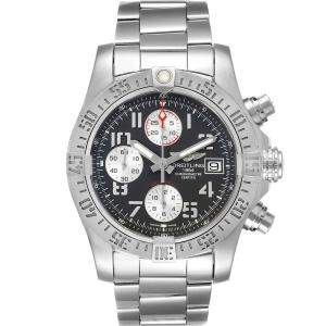 Breitling Grey Stainless Steel Super Avenger A13381 Men's Wristwatch 43 MM