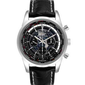 Breitling Black Stainless Steel Transocean Chronograph AB0510 Men's Wristwatch 46 MM
