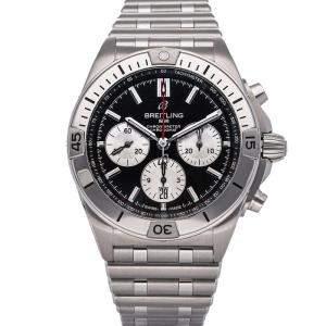 """ساعة يد رجالية بريتلينغ """"كرونومات بي01 ايه بي0134101بي1ايه1"""" ستانلس ستيل سوداء 42 مم"""