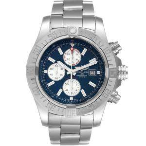 Breitling Blue Stainles Steel Aeromarine Super Avenger A13371 Men's Wristwatch 48 MM