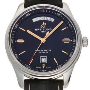 """ساعة يد رجالية بريتلينغ """"بريمير داي-دايت ايه45340"""" ستانلس ستيل سوداء 40 مم"""