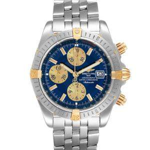 Breitling Blue 18K Yellow Gold And Stainless Steel Chronomat B13356 Men's Wristwatch 44 MM