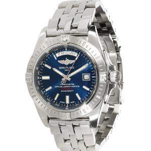 Breitling Blue Stainless Steel Galactic A453201A/C976 Men's Wristwatch 44 MM