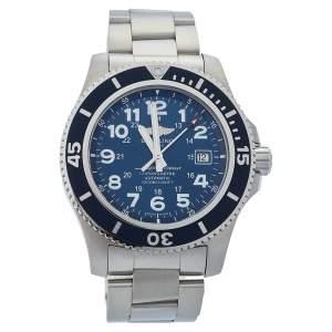 ساعة يد رجالية بريتلينغ  سوبر أوشن II 44 A17392D8 ستانلس ستيل زرقاء 44مم