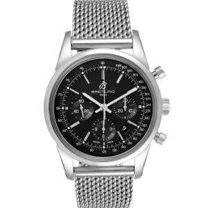 Breitling Black Stainless Steel Transocean Chronograph AB0152 Men's Wristwatch 43 MM