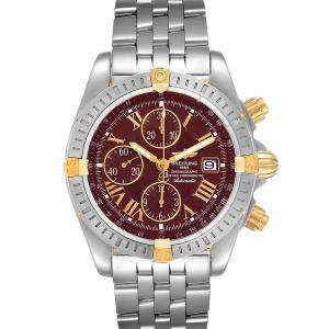 Breitling Burgundy 18k Yellow Gold And Stainless Steel Chronomat B13356 Men's Wristwatch 44 MM