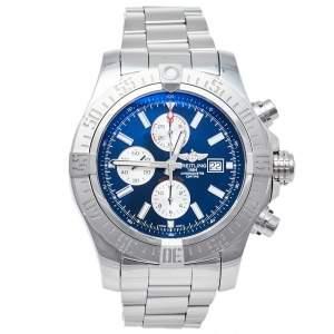 """ساعة يد رجالية بريتلينغ """"سوبر افينغر 2 أوتوماتيك ايه1337111/سي871"""" ستانلس ستيل زرقاء 48 مم"""