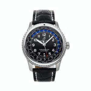 Breitling Black Stainless Steel Aviator 8 B35 Unitime 43 AB3521U41B1P1 Men's Wristwatch 43 MM