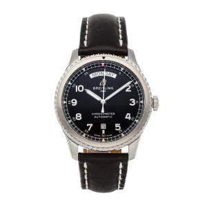 Breitling Black Stainless Steel Aviator 8 Day & Date A45330101B1X1 Men's Wristwatch 41 MM