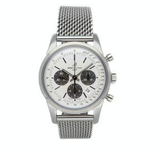 Breitling Silver Stainless Steel Transocean Chronograph AB015212/G724 Men's Wristwatch 43 MM