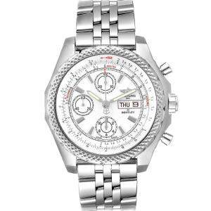 Breitling White Stainless Steel Bentley Motors GT II A13365 Men's Wristwatch 45 MM