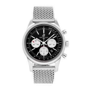 Breitling Black Stainless Steel Transocean Chronograph AB015212/BF26 Men's Wristwatch 44 MM