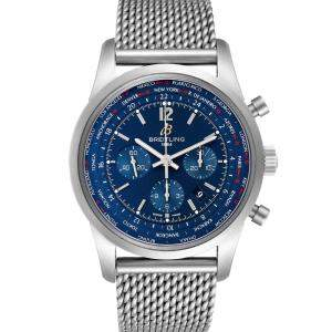 Breitling Blue Stainless Steel Transocean Chronograph AB0510 Men's Wristwatch 46 MM