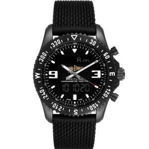 Breitling Black Blacksteel Chronospace Military GMT M78367 Men's Wristwatch 46 MM