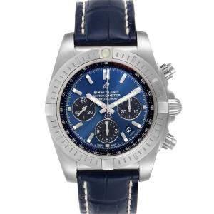 ساعة يد رجالية بريتلينغ  ستانلس ستيل كرونومات أيربون AB0115 زرقاء 44 مم