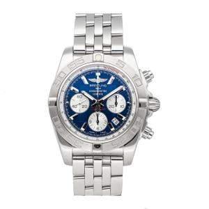 ساعة يد رجالية بريتلينغ AB011011/C788 ستانلس ستيل كرونومات زرقاء 44 مم