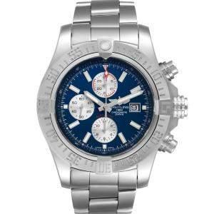 Breitling Blue Stainless Steel Aeromarine Super Avenger A13371 Men's Wristwatch 48 MM