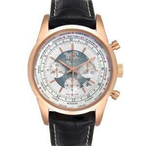 Breitling Silver 18K Rose Gold Transocean Chronograph Unitime RB0510 Men's Wristwatch 46 MM