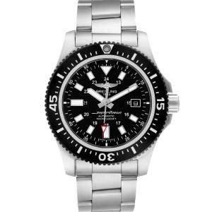 Breitling Black Stainless Steel Aeromarine Superocean Y17393 Men's Wristwatch 44 MM