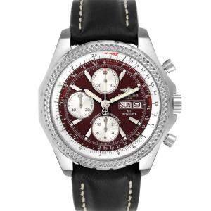 Breitling Burgundy Stainless Steel Bentley Motors GT A13362 Men's Wristwatch 45 MM