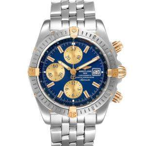Breitling Blue 18K Yellow Gold And Stainless Steel Chronomat 13356 Men's Wristwatch 44 MM