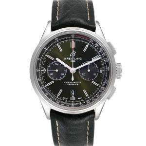 Breitling Green Stainless Steel Premier B01 Chronograph AB0118 Men's Wristwatch 42 MM