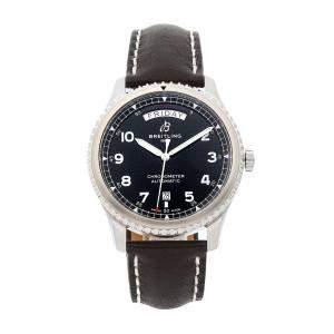 Breitling Black Stainless Steel Aviator 8 Day-Date A45330101B1X2 Men's Wristwatch 41 MM
