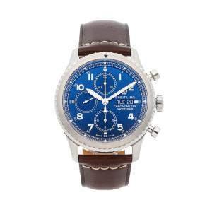 Breitling Blue Stainless Steel Navitimer 8 Chronograph A13314101C1X2 Men's Wristwatch 43 MM