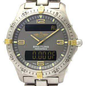 Breitling Grey 18K Yellow Gold And Titanium Aerospace F56062 Quartz Men's Wristwatch 40 MM