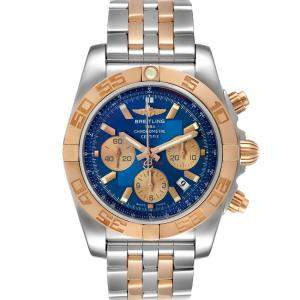 Breitling Blue 18K Rose Gold And Stainless Steel Chronomat Evolution CB0110 Men's Wristwatch 45 MM
